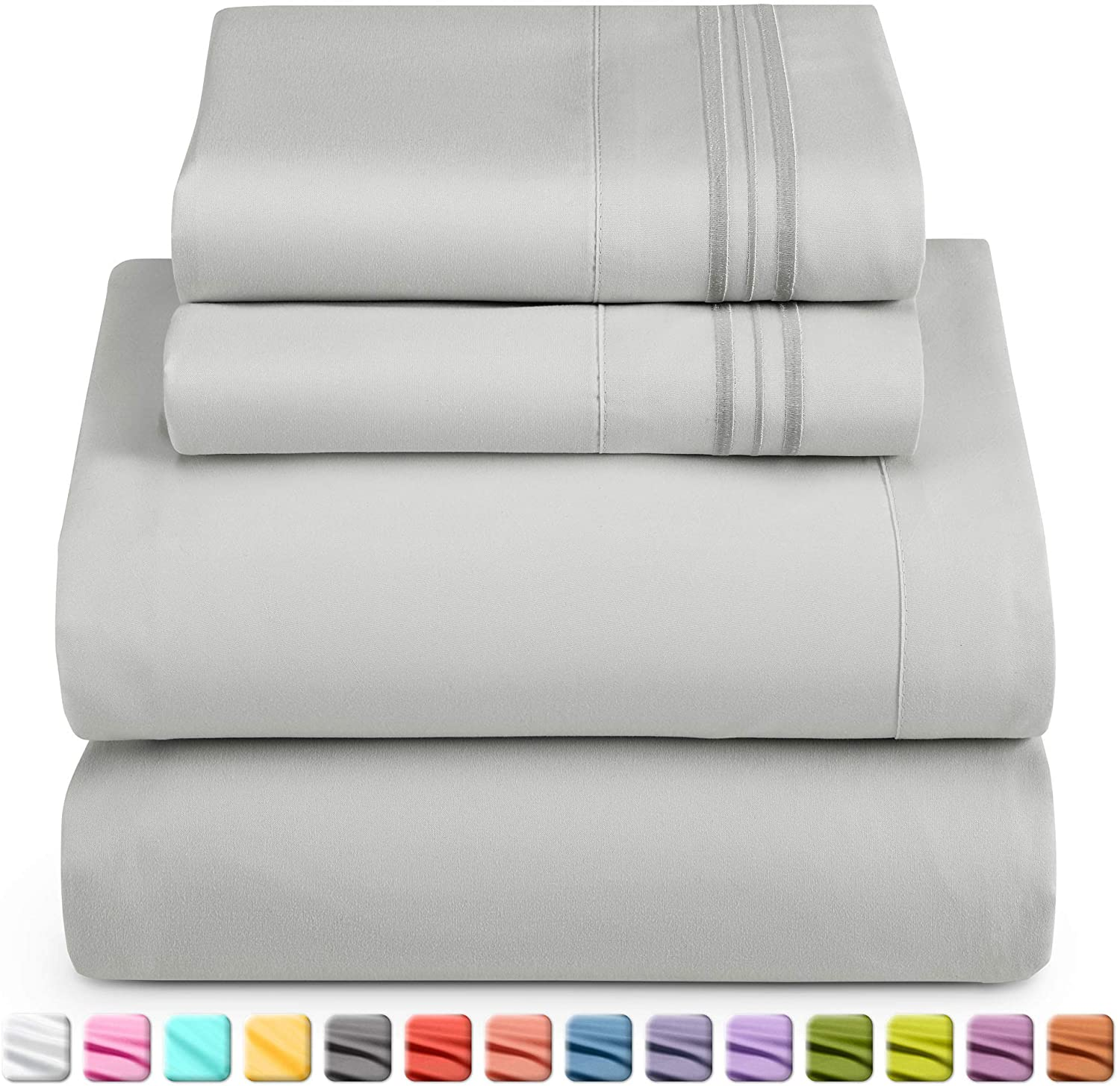 4 Piece Bed Sheet Set Nestl Bedding Soft Sheets Set Wrinkle Free Warranty Included Easy Care 3-Line Design Pillowcases Good Fit Deep Pockets Fitted Sheet Blue Heaven King