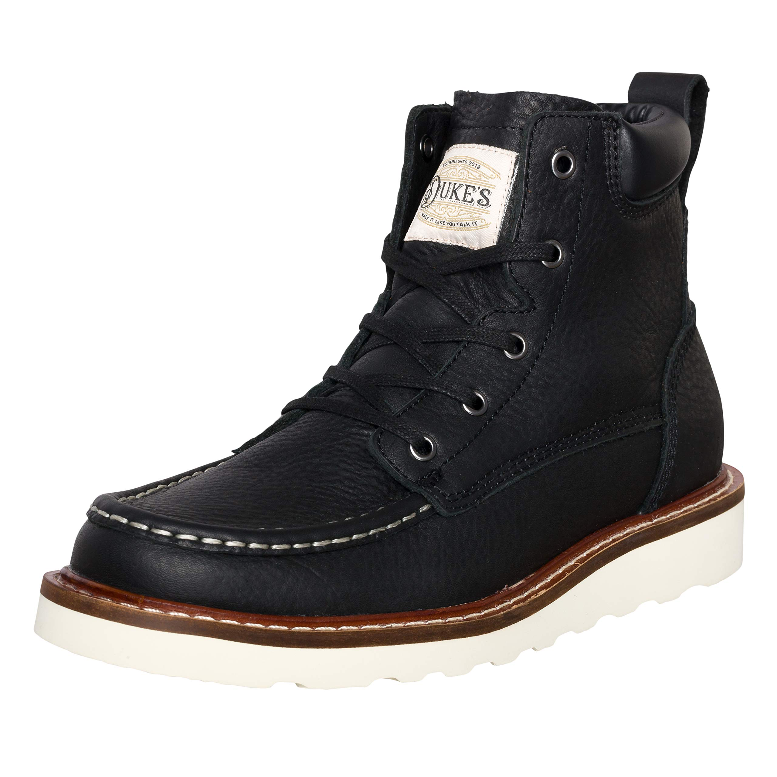 Duke's Mens Boots - Portland Leather Work Boot with Premium Cushion Insole (Black)