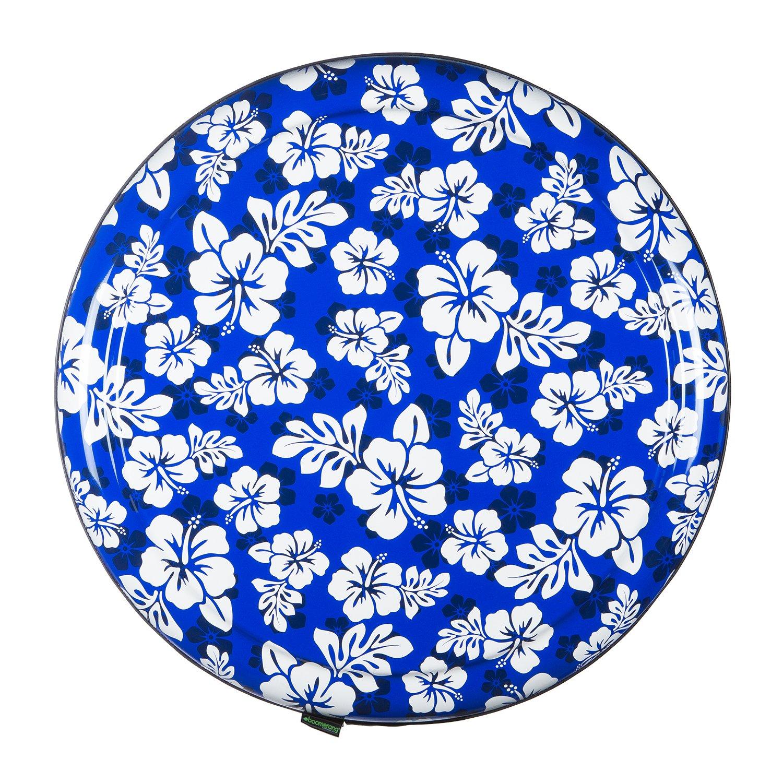 35'' Rigid Tire Cover (Plastic Face & Vinyl Band) - Hawaiian Print - Blue by Boomerang (Image #2)