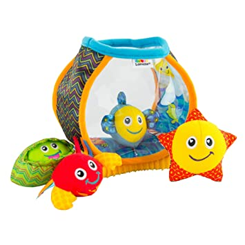 6 Months and Older Capture Baby/'s Curiosity with Sea Creatures to Rattle L27204Z Interesting Textures and Unique Sounds Capture Babys Curiosity with Sea Creatures to Rattle Squeak and Collect with Colorful Patterns LAMAZE My First Fishbowl Toy