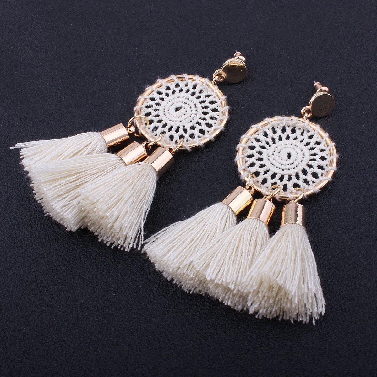 Tassel Earrings White Long Bohemian Geometric Dangle Earrings for Women by FEDNON (Image #1)
