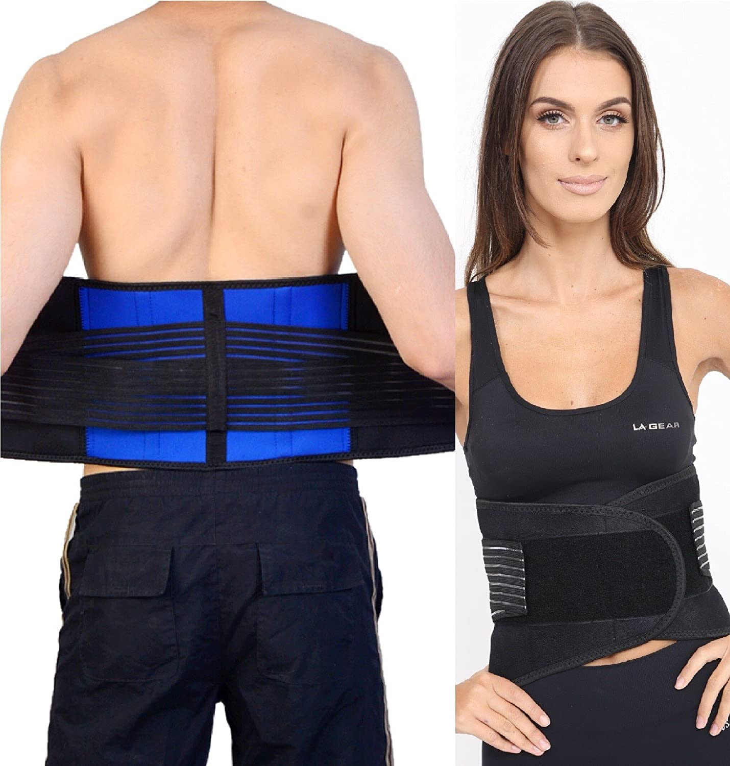 FitMad Adjustable Neoprene Double Pull Lumbar Support Lower Back Belt Brace Back PainSlipped Disc Pain Relief Large (32 36 inches)