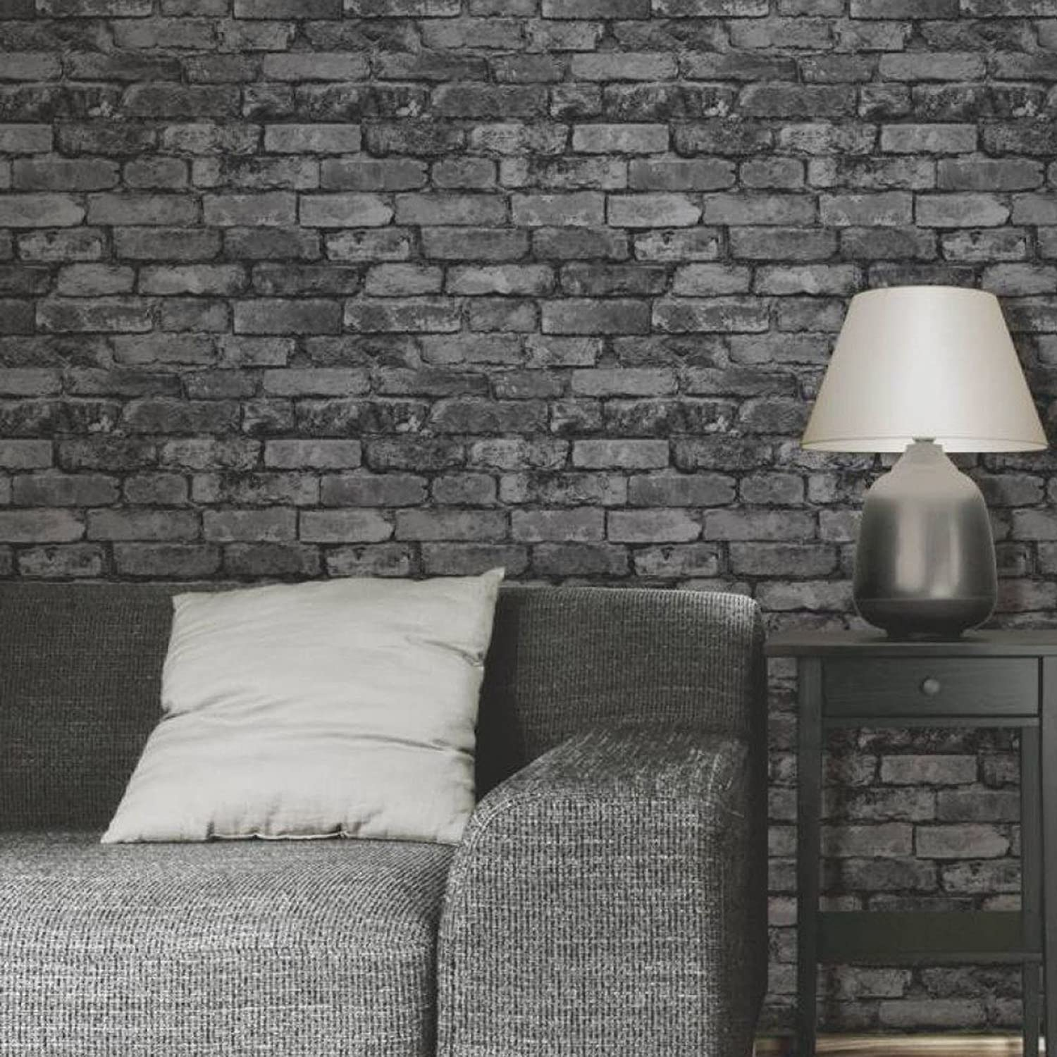 Fine Decor Charcoal Black Silver Grey