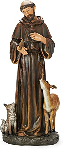 Joseph s Studio by Roman – St. Francis with Animals Figure, for 18 Scale Renaissance Collection, 18 H, Resin and Stone, Religious Gift, Decoration, Collection, Durable, Long Lasting