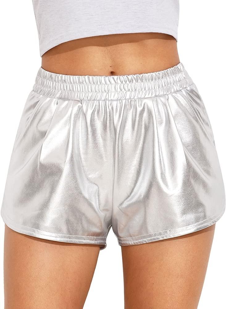 Womens Metallic Shorts Elastic Waist Shiny Pants