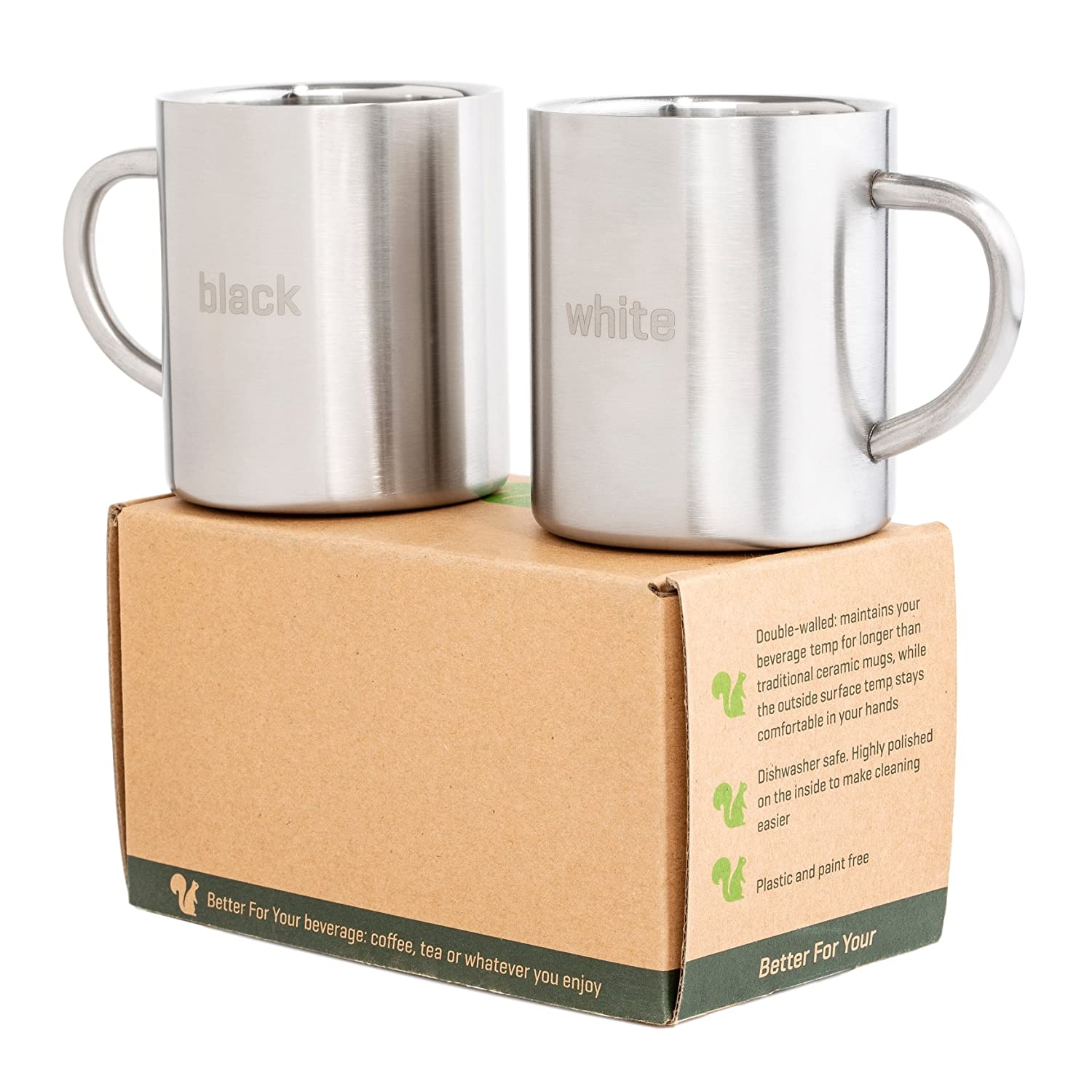Stainless Steel Coffee Mugs Camping - Double Wall BPA free 13.5oz Metal Coffee Mug - Tea Cup with Handle, Fits Popular Coffee Machines - Shatterproof Set of 2 Cups with Laser Words Black & White Better For Your DWC-400-BR-BK-WH