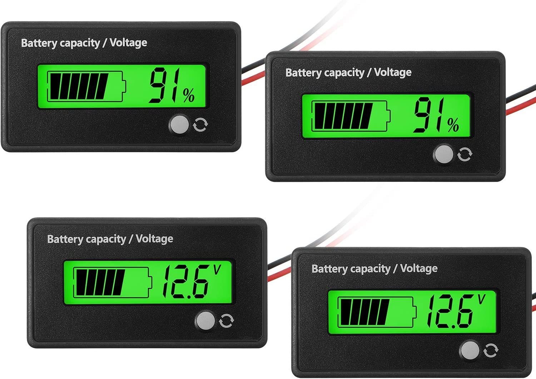 2 Medidores de Batería DC 12V 24V 36V 48V 72V con Alarma, Indicador de Voltaje de Capacidad de Batería Monitores de Indicador de Batería Indicador de Batería de Iones de Litio y Plomo-Ácido, Verde