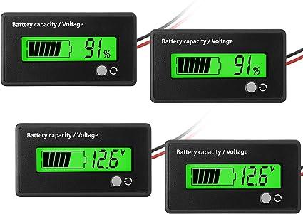 2 Stücke Dc 12v 24v 36v 48v 72v Batterie Messgerät Mit Alarm Batterie Kapazität Stromspannung Indikator Batterie Spur Monitore Blei Säure Und Lithium Ion Batterie Indikator Grün Auto