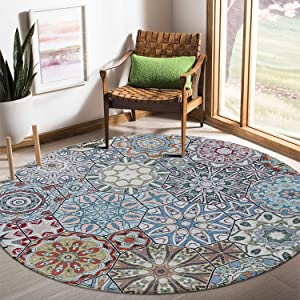 LEEVAN Round Wool Area Rug Traditional Throw Runner Rug Non-Slip Backing Soft Wool Floor Carpet for Sofa Living Room Bedroom Modern Accent Home Decor