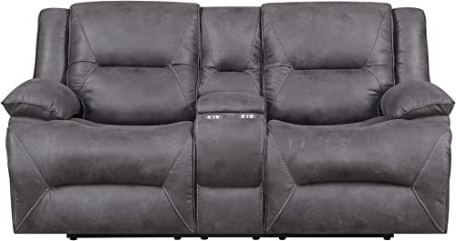 MorriSofa Everly Reclining Love Seat, 80.5 x 38 x 40.5 , Grey with subtle brown undertones