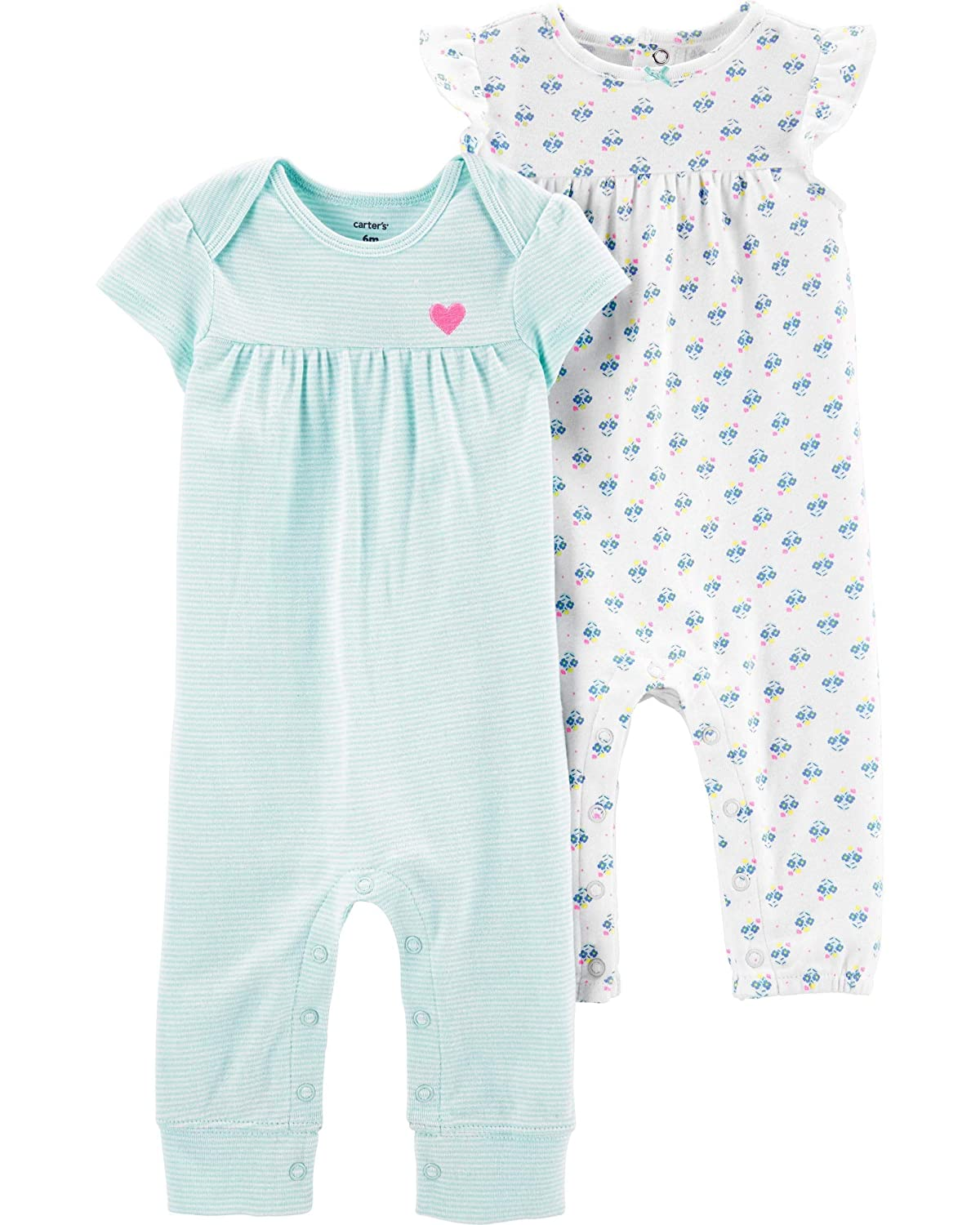 Carters Baby Girls 2-Pack Jumpsuits Blue Stripes /& Floral
