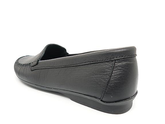 Zapato Mujer Casual Mocasin Marca DELTELL en Piel Color Negro Pasado ...