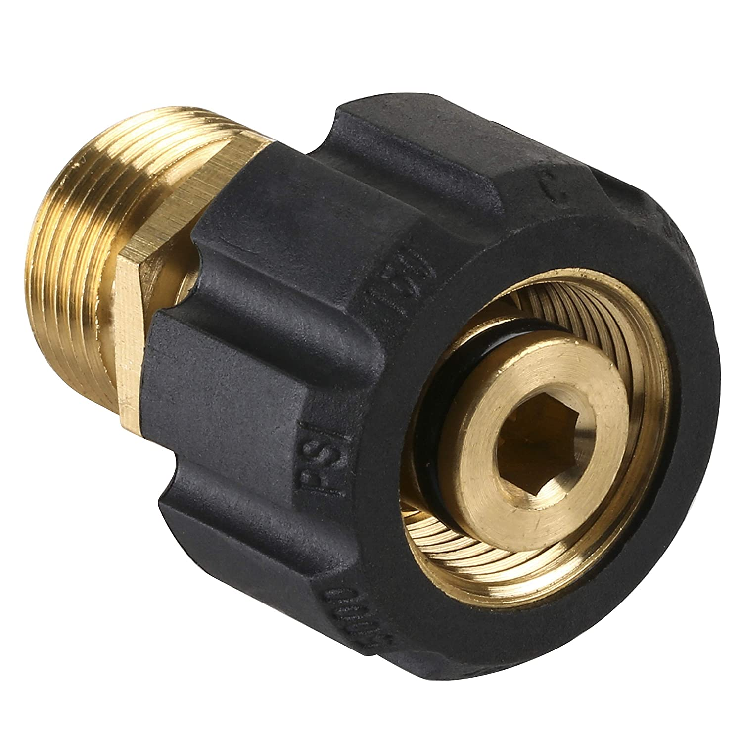 Mingle Pressure Washer Adapter, Metric M22 15mm Female Thread to M22 14mm Male Fitting, 4500 PSI