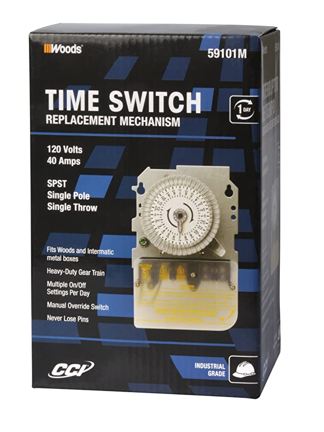 Woods 59101MWD Indoor 24-Hour Heavy Duty Mechanical Time Switch, 120V/40A SPST - Wall Timer Switches - Amazon.com