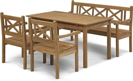 Skagerak Skagen - Conjunto de jardín de 4 Piezas, Teca, 1 Mesa, 1 Banco de jardín y 2 sillas: Amazon.es: Jardín