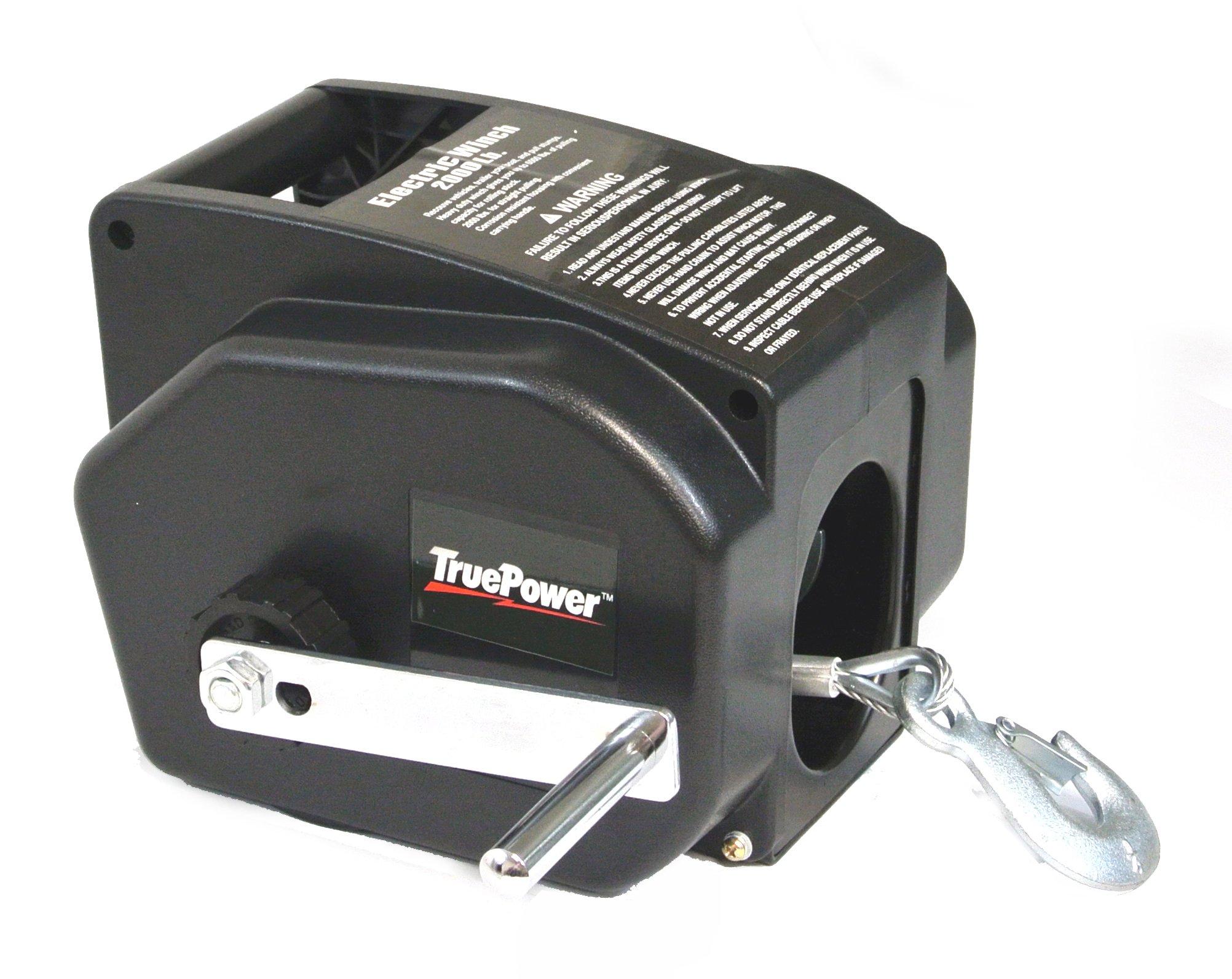 TruePower 40-4003 12V DC Portable Winch with Wireless Remote Control (2000 lb Line, 5000 lb Boat)