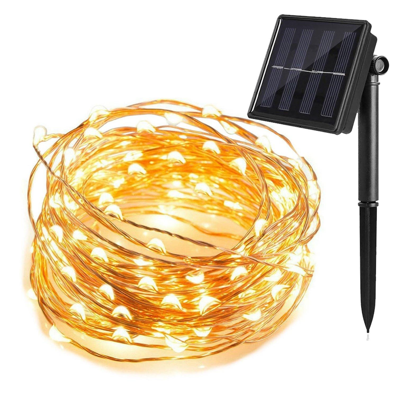 T HomeLight Solar Power String Light 100FT / 300Leds ON/OFF Flash 2 Mode Copper Decor Led Light, Patio, Yard, Travel, Motor Home Warm White
