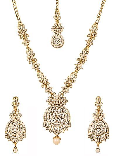 b7009c200 Touchstone - Parure de mariage indien de style Bollywood avec strass blancs  - Aspect or antique - Pour femmes
