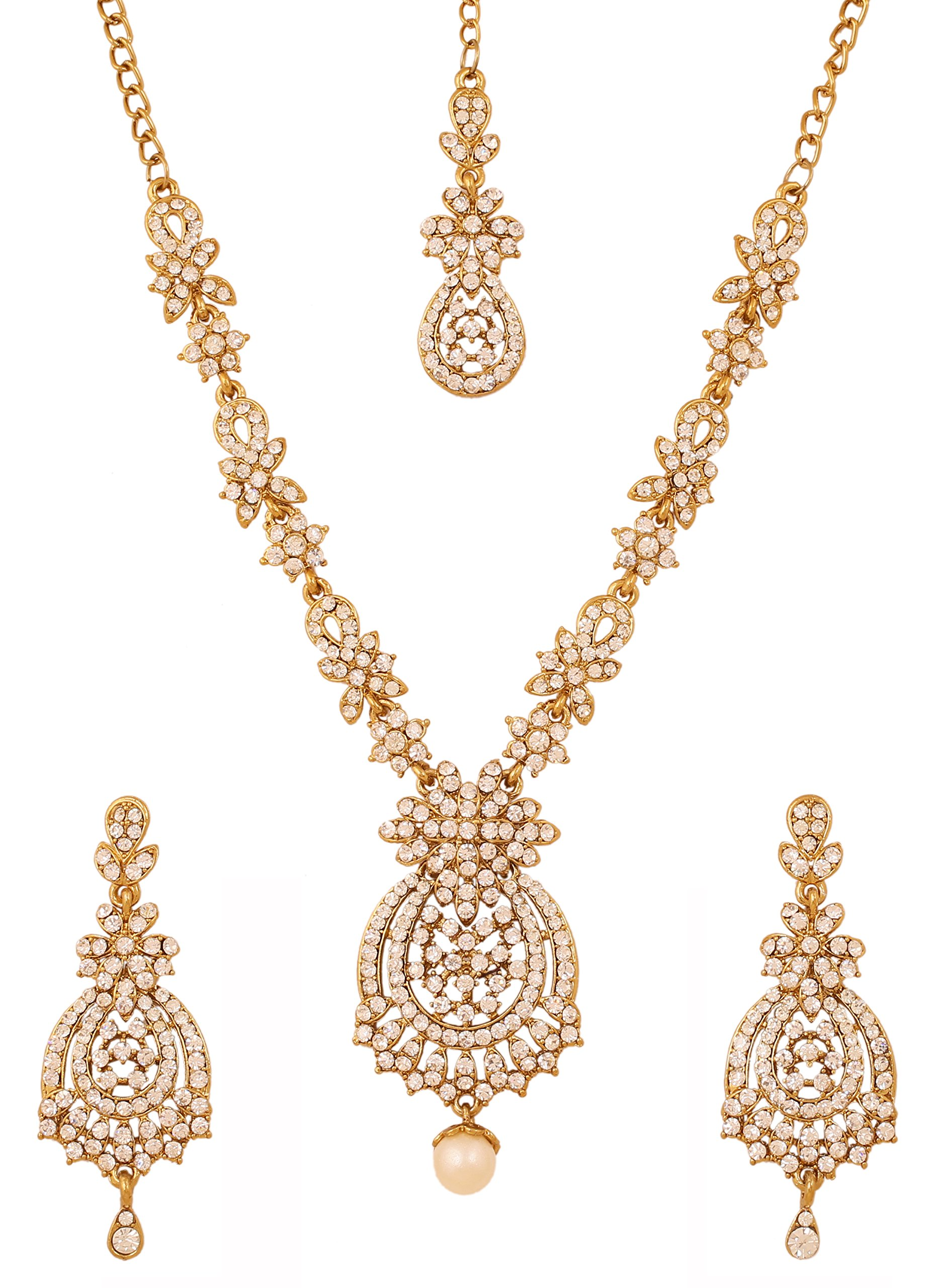 Touchstone Indian bollywood white rhinestones bridal jewelry necklace set in antique gold tone for women