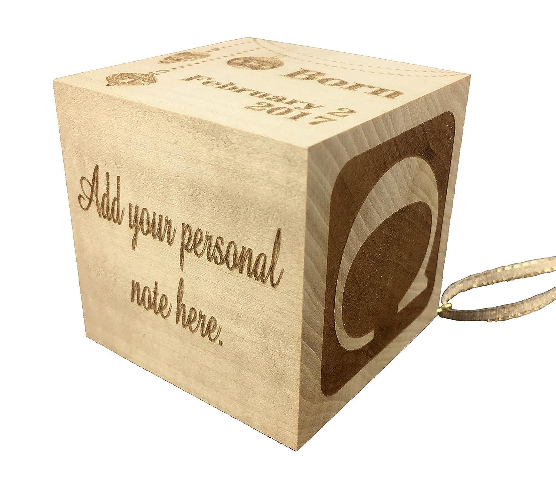 Custom Engraved Big Wood Baby Birth Block 2 5 Personalized Gift