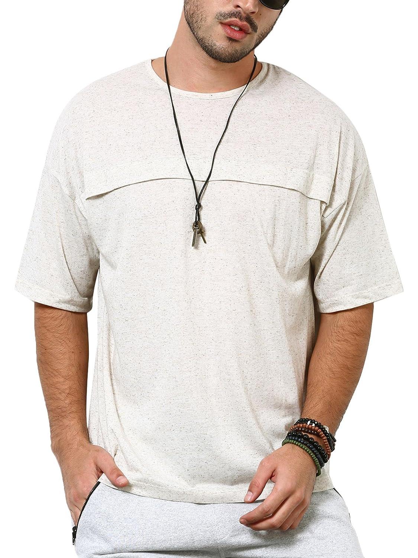 e5d6f971 SKULT Men Light Grey Linen Blend Boxy Fit Drop Shoulder Tee: Amazon.in:  Clothing & Accessories