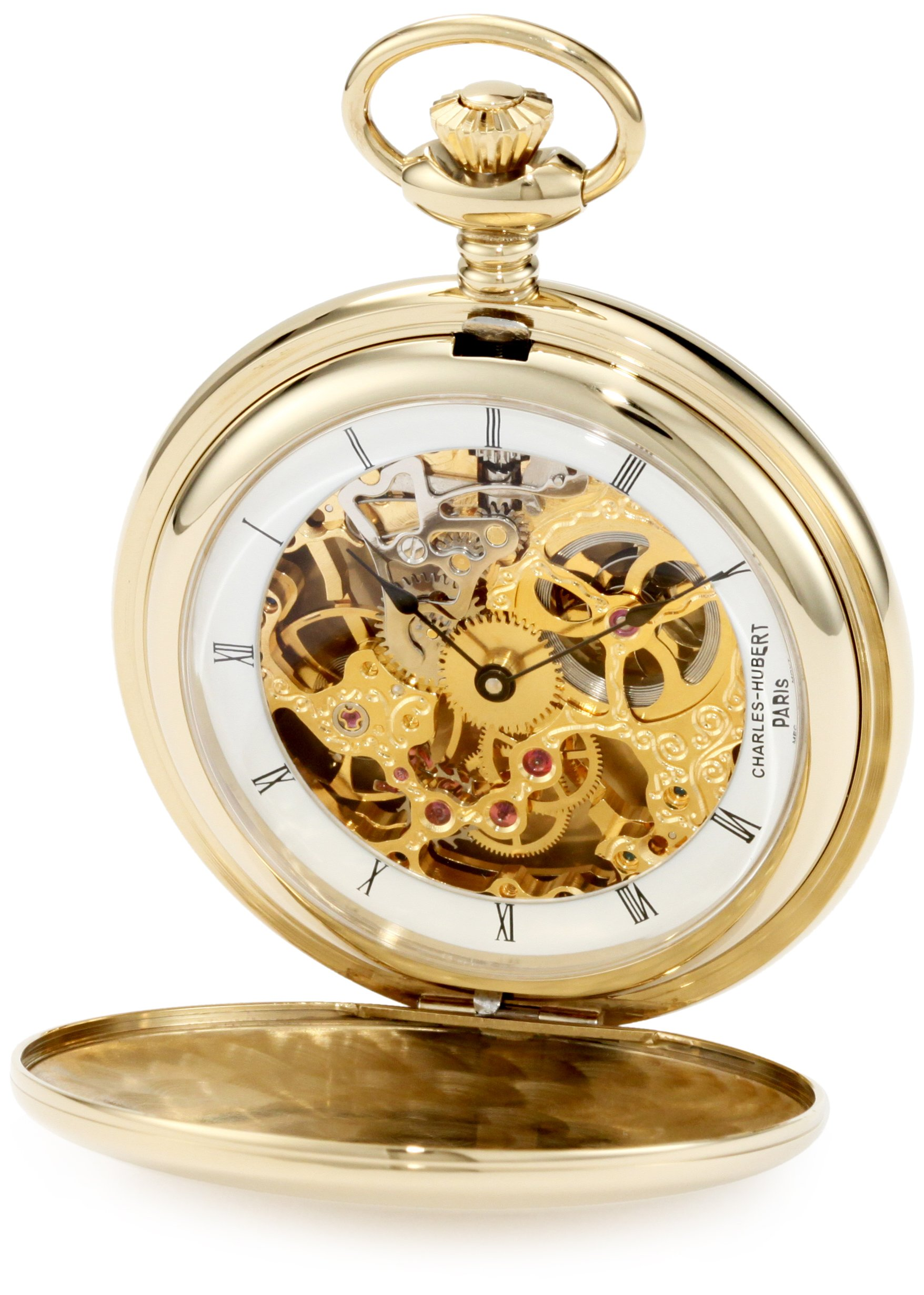 Charles-Hubert, Paris 3905-G Premium Collection Gold-Plated Stainless Steel Polished Finish Double Hunter Case Mechanical Pocket Watch