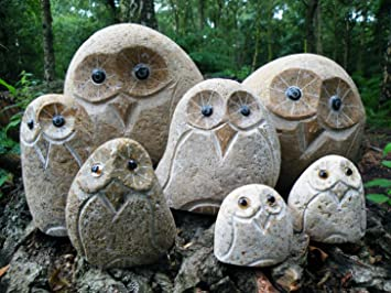 Stoney owl 50cm tall stone owl Amazoncouk Garden Outdoors