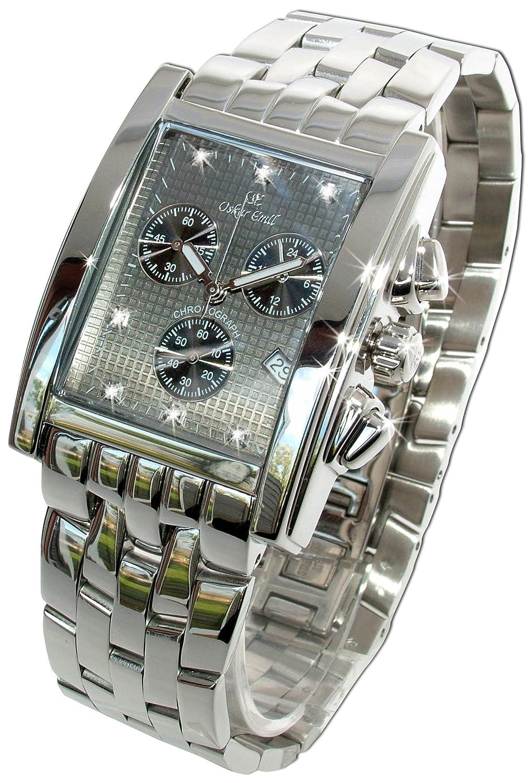 Rodez Edelstahl Chronograph Herren Uhr mit Diamanten