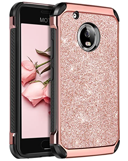 superior quality 0ddad b4db0 Moto G5 Plus Case,Moto G Plus (5th Generation) Case, BENTOBEN Glitter Faux  Leather 2 in 1 Slim Hard Laminated with Luxury Shiny Chrome Shockproof ...