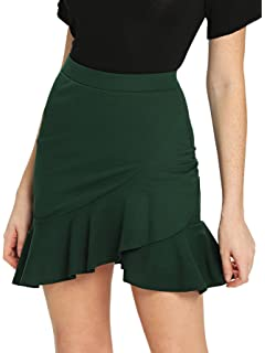 5bcb5dd15 WDIRARA Women's Mid Waist Above Knee Asymmetrical Ruffle Hem Overlap  Bodycon Skirt
