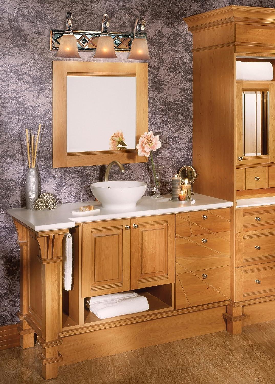 Minka Lavery Wall Light Fixtures 6743-206 Aston Court Reversible Mirrored Bath Vanity Lighting, 3 Light, 300 Watts, Bronze