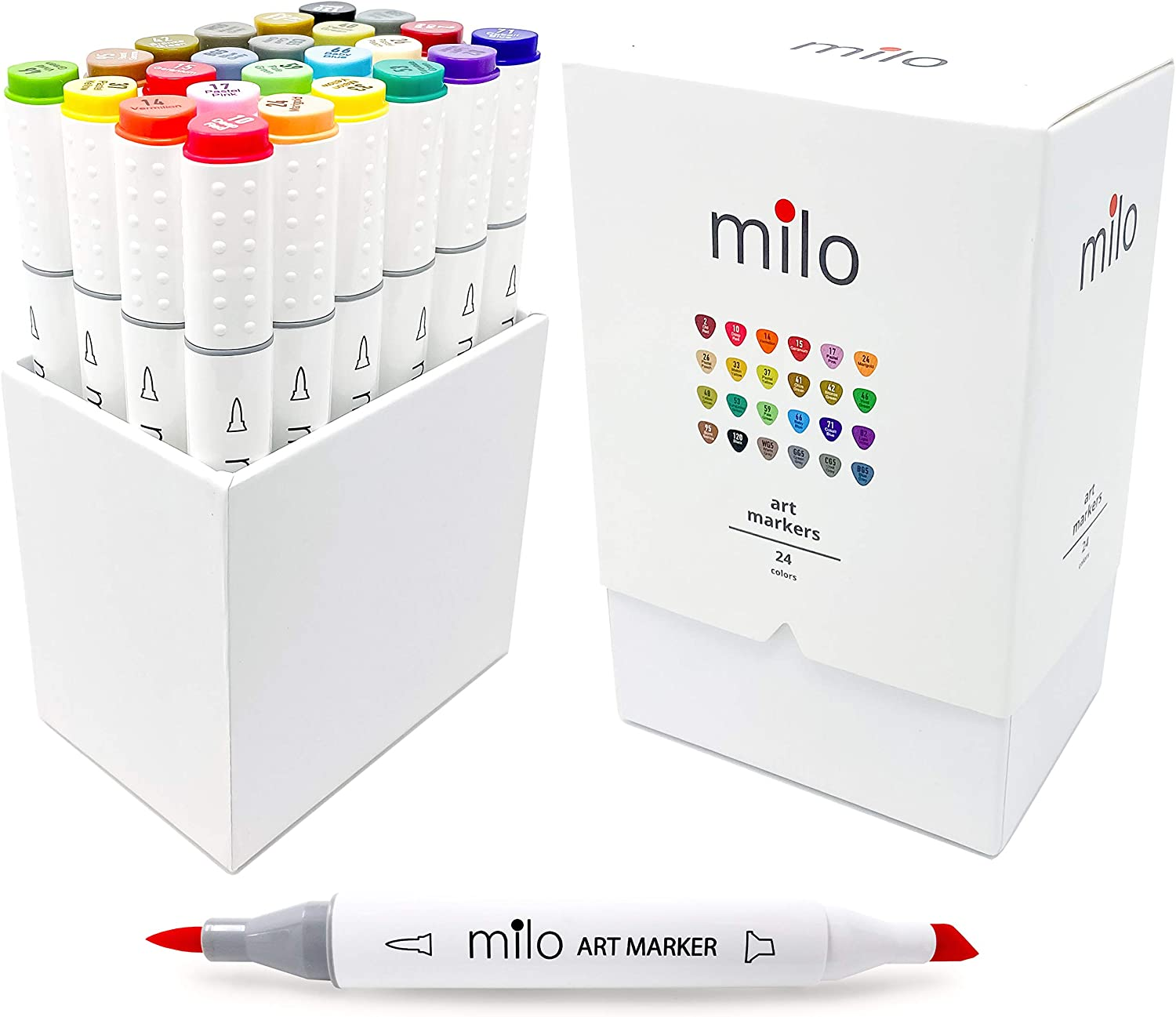 milo Alcohol Based Double Sided Art Markers | 24 pc Brush and Chisel Tip Marker Set