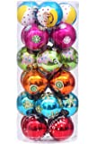 "Sea Team 60mm/2.36"" Shatterproof Colorful Painting & Glittering Christmas Balls Decorative Hanging Christmas Ornaments Baubles Set - 24 Counts"