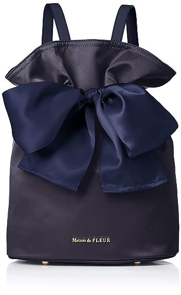 4ef950ce4b24 Amazon | [メゾン ド フルール] 巾着リボンリュック 8A91F0J0500 Navy | Maison de FLEUR(メゾンドフルール)  | レディース