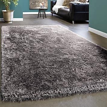 elegante alfombra shaggy pelo alto unicolor suave brillante plata gris grsse120x170 cm amazones hogar - Alfombra Gris