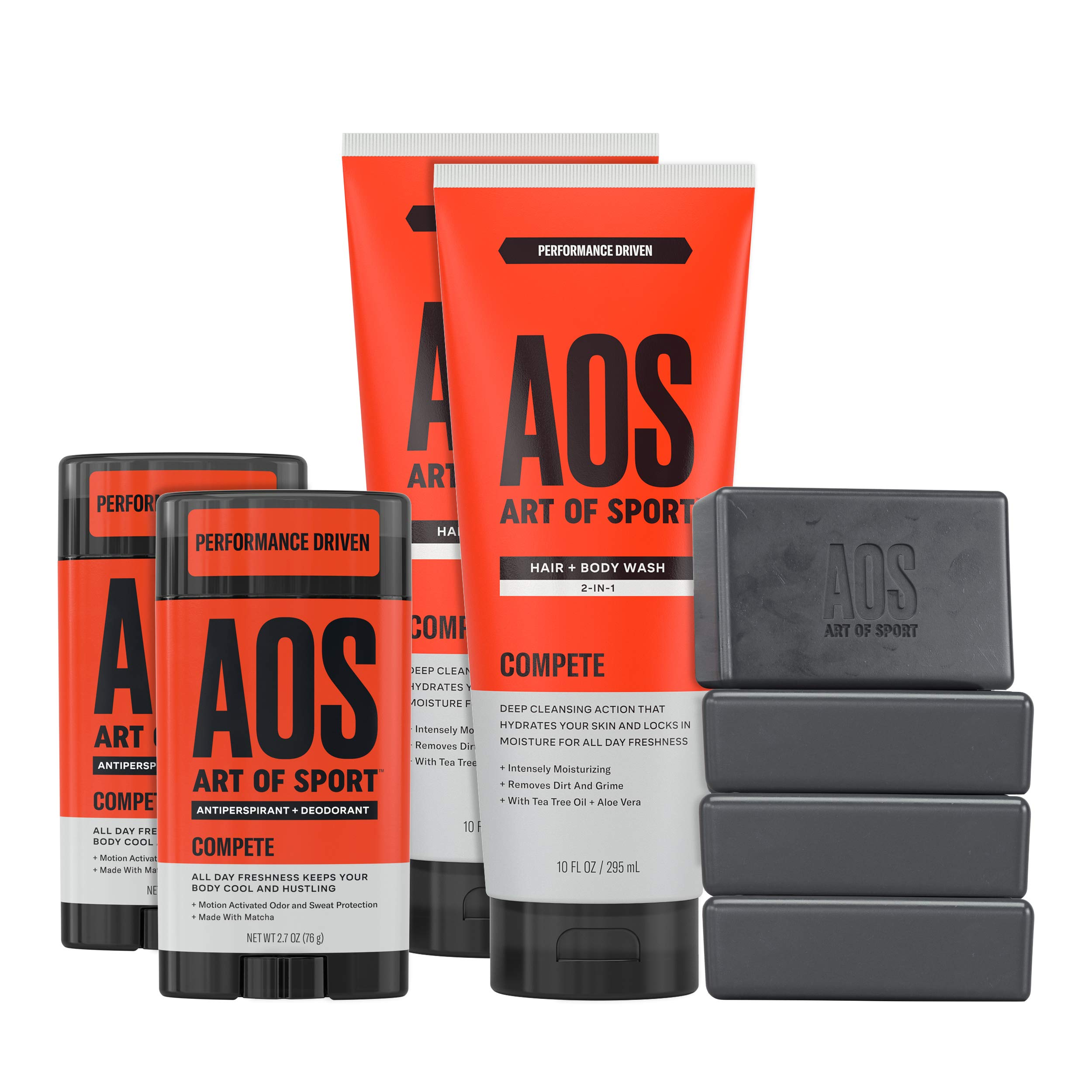 Art of Sport Athlete Collection, Compete Scent, 8pc Skin and Body Care Set with Antiperspirant Deodorant, Body Wash, and Body Bar Soap by Art of Sport