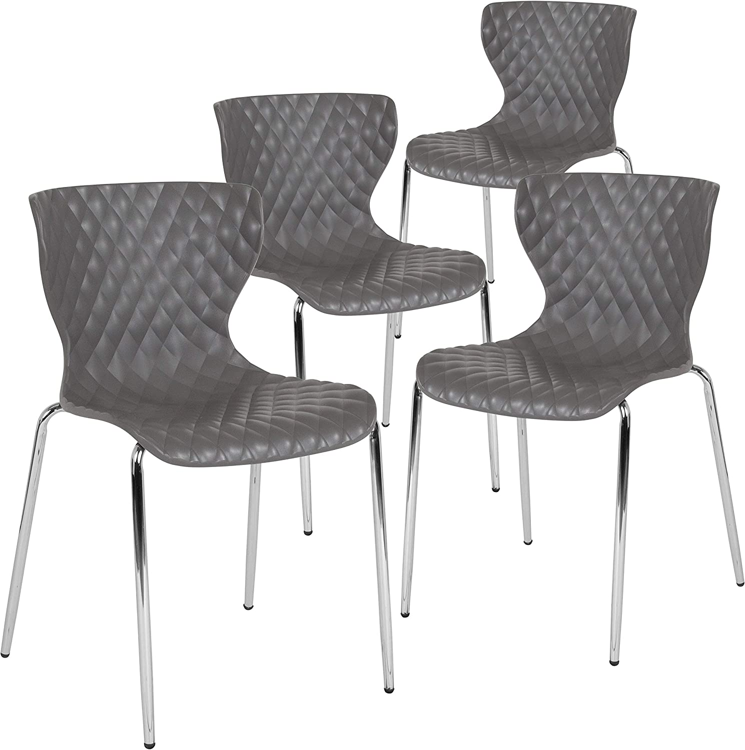 Flash Furniture 4 Pk. Lowell Contemporary Design Gray Plastic Stack Chair