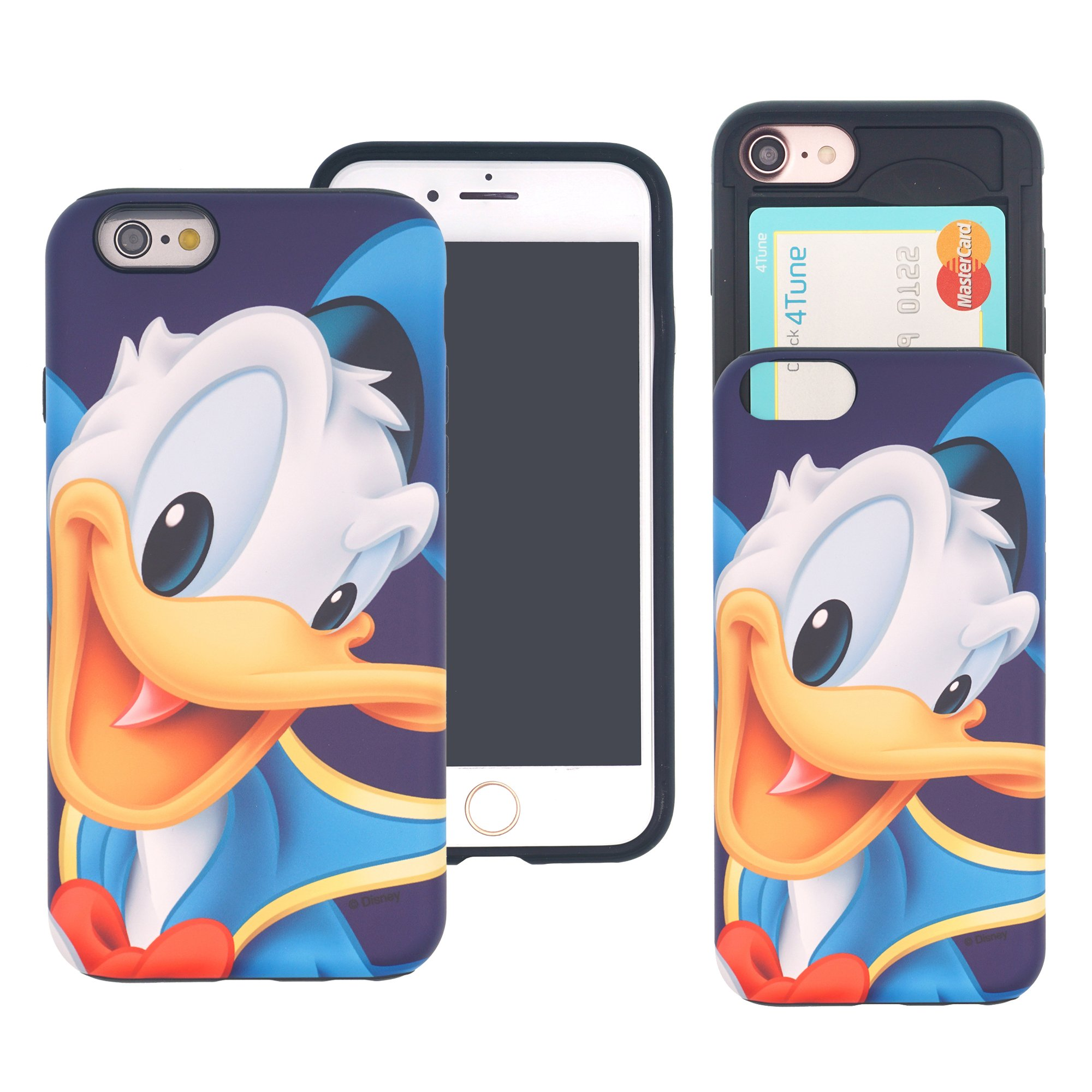 iPhone 6S / iPhone 6 Case DISNEY Cute Slim Slider Cover : Card Slot Shock Absorption Shockproof Dual Layer Protective Holder Bumper for iPhone6S / iPhone6 (4.7inch) Case - Smile Donald Duck