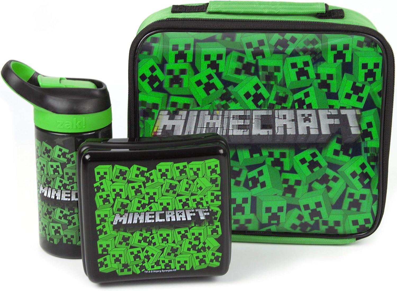 Minecraft bolsa de almuerzo Conjunto (Fiambrera, Botella de agua, Snack-Pot): Amazon.es: Hogar