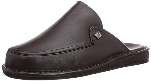 Turin Flex K - Zapatillas de estar por casa de cuero para hombre negro negro, color marrón, talla 40 Fortuna