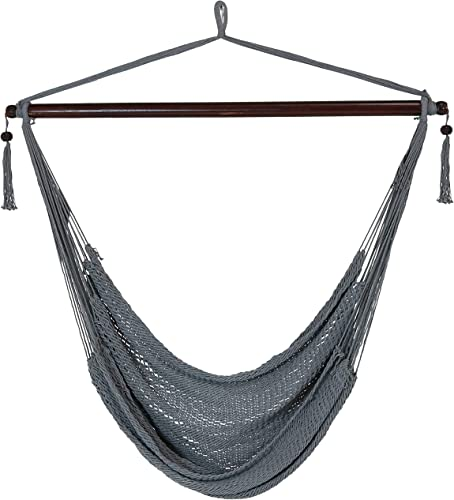 Sunnydaze Hanging Caribbean XL Hammock Chair – Modern Boho-Style Soft-Spun Polyester Rope Hammock Chair Swing – Gray – Ideal for Yard, Balcony, Garden and Other Outdoor Living Spaces