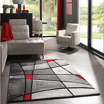 Unamourdetapis Tapis Salon Moderne et Design Brillance ZAG Gris, Noir,  Rouge, Blanc 60 x 110 cm