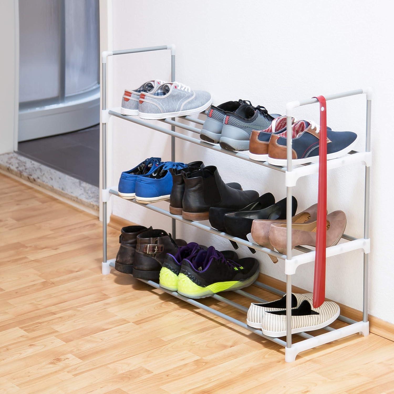 Hecho de Metal con Recubrimiento de Polvo Relaxdays c/ómoda para Zapatos 93 x 90 x 31 cm se Puede Poner mas Niveles 2 Niveles Plateado Estante para Zapatos