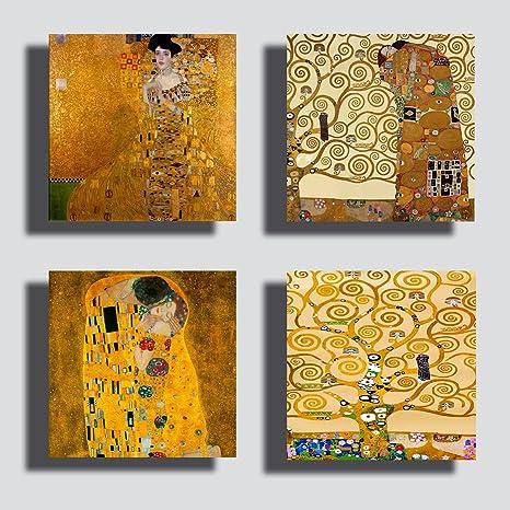 Quadri Moderni KLIMT 4 pezzi Albero della vita abbraccio oro Stampa Tela  CANVAS Arredamento Arte XXL Arredo soggiorno salotto camera da letto cucina  ...