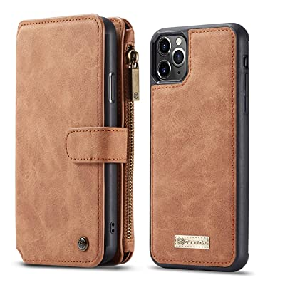 BeyeX iPhone Xs Max Flip Case Leather Cover Card Holders Kickstand Extra-Shockproof Business Mobile Phone Cover Fourteen Card Slot Anti Fall Zipper Bag Detachable (Detachable Brown): Toys & Games