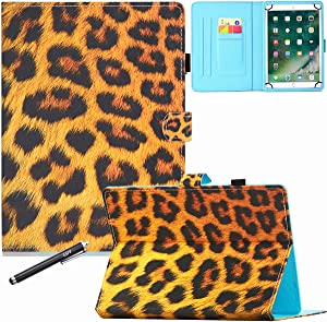 10 Inch Universal Case, GSFY Pretty Folio Stand Protective Case Leather Pocket Cover for Apple/Samsung/Kindle/Huawei/Lenovo/Android/Dragon Touch 9.6 9.7 10 10.1 10.5 Inch Tablet - Leopard Fur