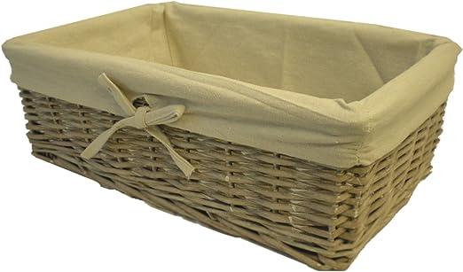Diseño con forro mimbre cesta Rectangular - tamaño más grande: Amazon.es: Jardín