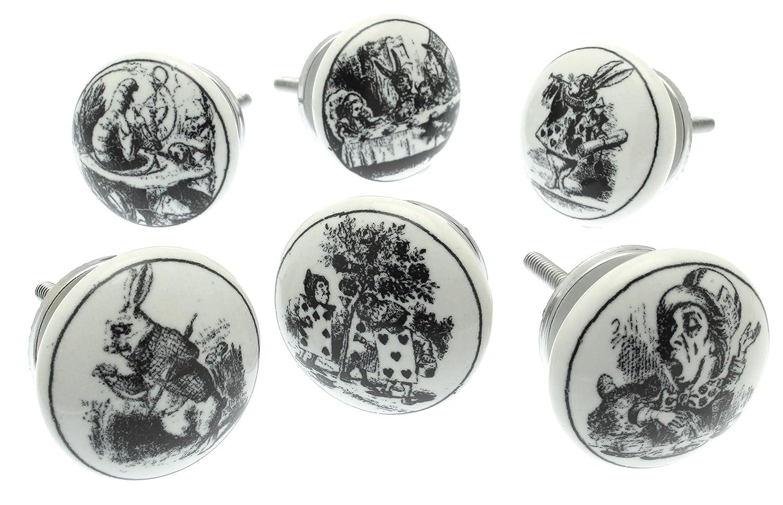 Ensemble de 6Alice au pays des merveilles Style vintage shabby chic en c/éramique en boutons de placard en c/éramique Blanc
