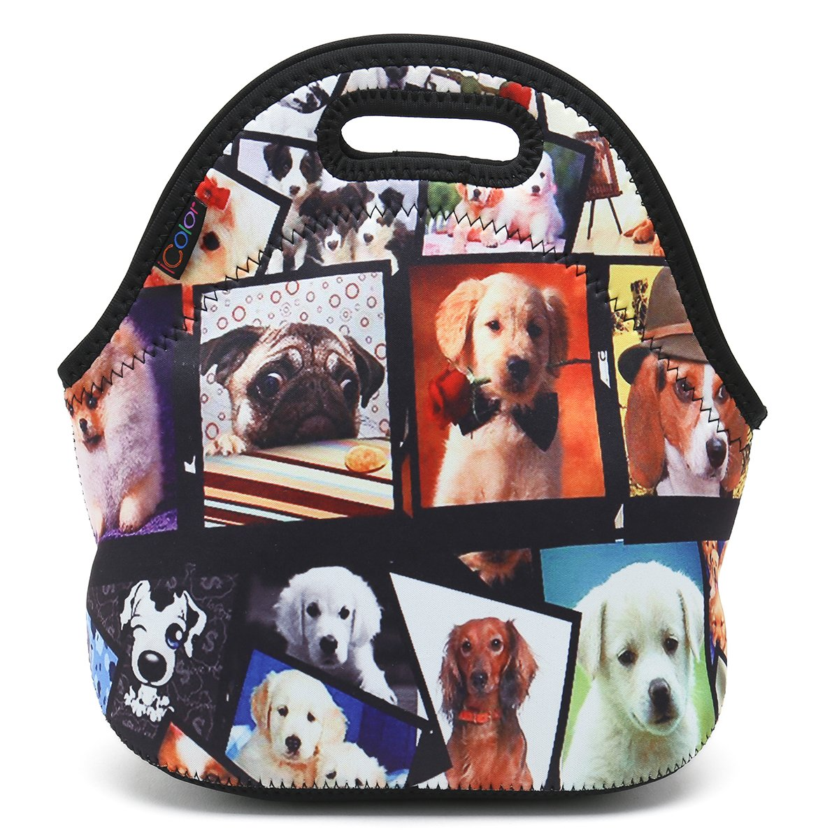 ICOLOR Dogs Design Hot Kids Neoprene Insulated Lunch Food Tote Bag Box cover baby bag Gourmet Handbag lunchbox Case For School work LB-115 by ICOLOR