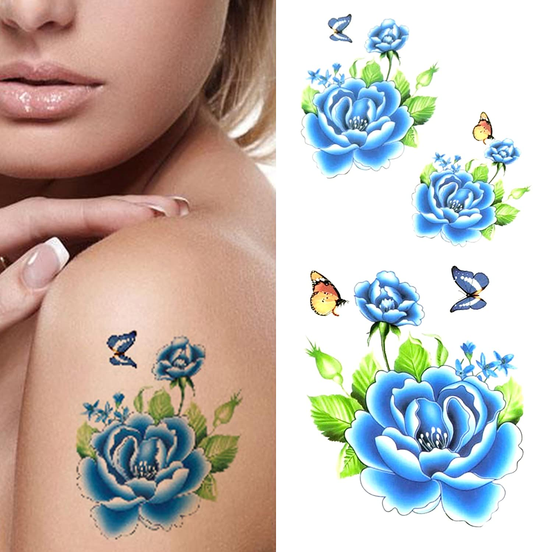 Oottati Tatuajes Temporales Mujer Mariposa Azul (2 hojas): Amazon ...